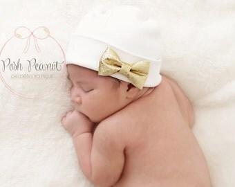 Newborn beanie with gold bow, Newborn girls hat, Newborn hat, newborn hat with bow, newborn hospital hat, baby girl hat, baby beanie