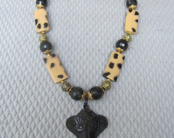 Africian Influenced with Spotted Jungle Beads with Black Elephant Pendant