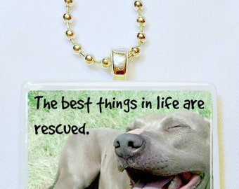 The best things in life are rescued game tile pendant