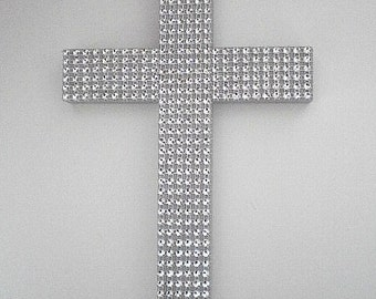 "SPARKLING SILVER CROSS - Handpainted Decorative Wall Cross w/ Silver Diamond Mesh  9.5"" x 5.5"""