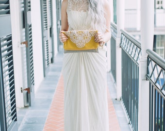 Mustard Bridal Fold Over Clutch - Linen and Lace Foldover Bag - Vintage Lace Doily Purse