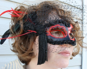Bird Cage Netting Black and Red Hand Painted Venetian Mask from Moonlight Masquerade