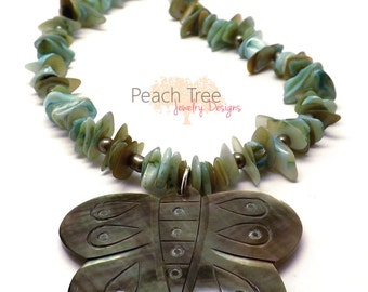 Beaded Mother of Pearl Necklace with Butterfly Pendant -Shell Necklace -Seed Bead Necklace -Beaded Necklace-Butterfly Necklace-Shell Pendant