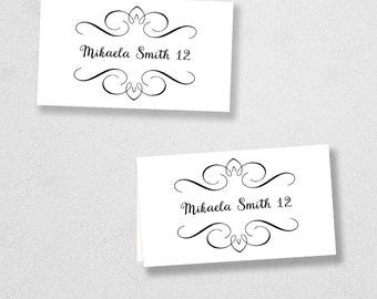 Avery Place Card Template - INSTANT DOWNLOAD - Escort Card - For Word and Pages - Mac and PC - Flat or Folded - Calligraphy Flourish