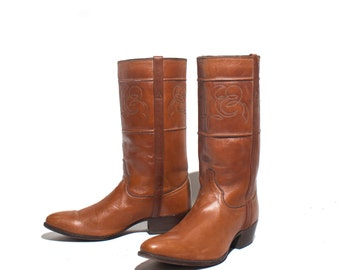 7.5 D | Men's J.S. Justin Fancy Riding Boots Brown Leather Cowboy Western Boots