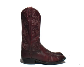 8.5 D | 1984 Tony Lama Signature Collection Burgundy Leather Cowboy Western Boots