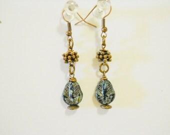 Dangle Earrings, Picasso Czech BeadsEarrings, BOHO earrings