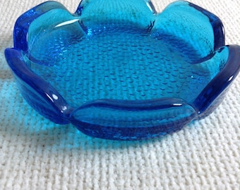 Vintage 1970's Glass dish, candle holder or ashtray. Blue Modernist, Groovy, Flower power.  Eames, Panton Era. POP Art, OP Art. MOD.