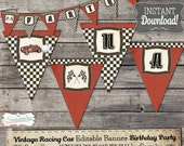 Vintage Racing Car Party Banner - INSTANT DOWNLOAD - Editable & Printable Birthday Decoration by Sassaby