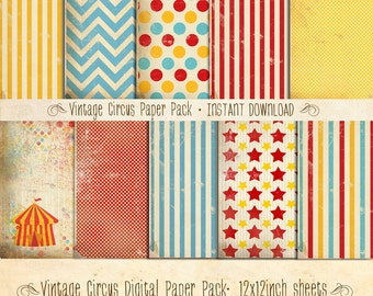 Vintage Circus Paper Pack 10 Digital Sheets Aqua Combo - INSTANT DOWNLOAD - Scrapbooking Card Making Birthday Party Decoration by Sassaby