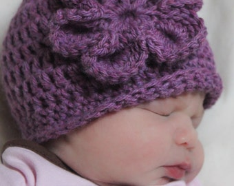 CROCHET HaT PATTERN: Learn to Crochet, Beginner Beanie with Flower, 'My First Hat'