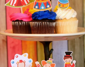 Circus Cupcake Toppers Set of 12