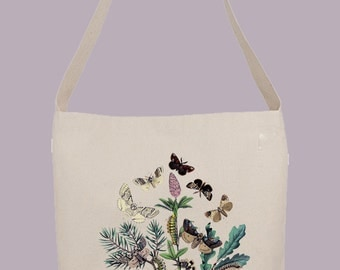 Vintage Bohemian Moths illustration   - Hobo Sling Tote, 14.5x14x3, Crossbody Strap, Magnetic Closure, Inside pocket