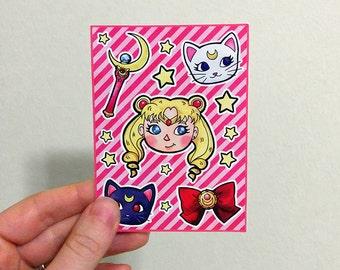 Sailor Moon fan art sticker sheet - kiss cut anime cute mini vinyl stickers