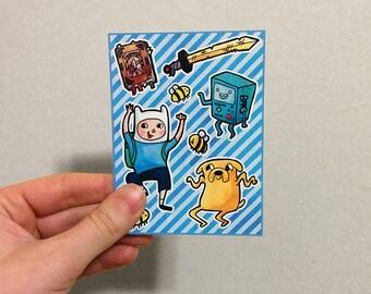 Adventure Time Jake Finn BMO fan art sticker sheet - kiss cut cute mini vinyl stickers