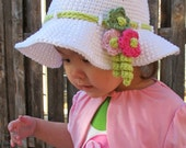 CROCHET PATTERN - Spring Garden - a spring hat summer hat easter hat with flowers in 6 sizes (Infant - Adult S) - Instant PDF Download