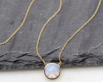 Iridescent Opalite Round Pendant Necklace - Spring Trends - Opal Necklace