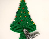 Vintage Christmas Tree, Green Macrame Wall Hanging, Retro Holiday Decor, Kitsch Woven Evergreen