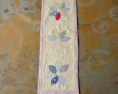 Quilt Table Runner, Vintage Upcycled Cutter Quilt, Handmade Feedsack Flowers Shabby Chic Decor