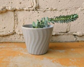 Mid Century Flower Pot, 1950s Bauer Pottery Knock Off, Grey Gray Swirl Flower Vase