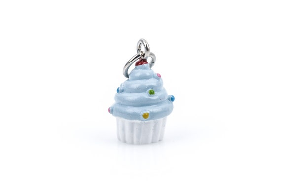 3D Blue Frosting Handpainted CUPCAKE Resin Charm  cha0127