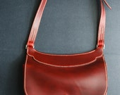 Merlot Saddlebag purse made with Horween Cherry Cavalier, leather satchel, leather bag, hand stiched, made in usa