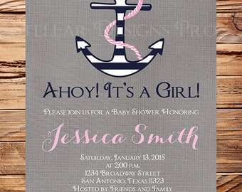 Nautical Baby Shower Invitation girl, Anchor Boy Shower, Navy, Nautical Baby Girl Shower Invitation, Pink, Teal, 1420