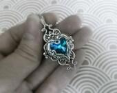 Valkyrie's Heart Swarovski Crystal Silver Bridal Bridesmaid Pendant - Bermuda Blue