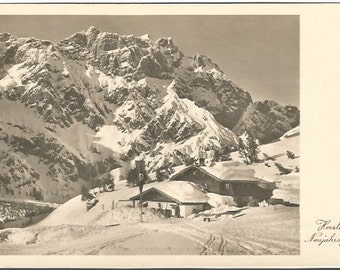 German Mountain Scene Snow Covered House Cordial greetings new year Vintage Postcard