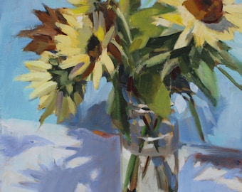 Yellow Sunflowers on Blue