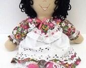 cloth Handmade Rag Doll ethnic latina latino hispanic black curly hair handmade folk art toy rag doll homemade toddler toy NF133