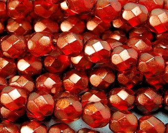 Halo - Cardinal Red Czech Glass Faceted 4mm Beads -50