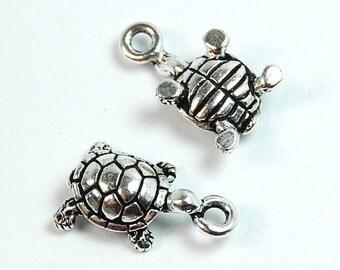 TierraCast Antique Silver Turtle Charm -1