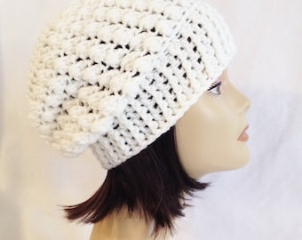 chunky slouch, beanie, hat, cap, hand crochet, white, made to fit teens & adults 21-23""