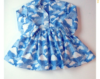 Girls Dress Cotton Shirt Dress Cloud Print Dress Long Sleeve Dress Spring Dress Vintage Inspired Baby Dress First Birthday Birthday Outfit