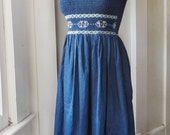 Dark Denim Smocked Front 1950s Revival Sleeveless Lolita Dress Embroidered Detail