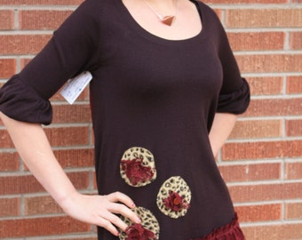 Brown light weight sweater Dress ~ leopard embellishments ~ Maroon Lace ~ Medium