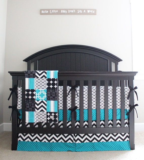 Mustache Baby Crib Bedding