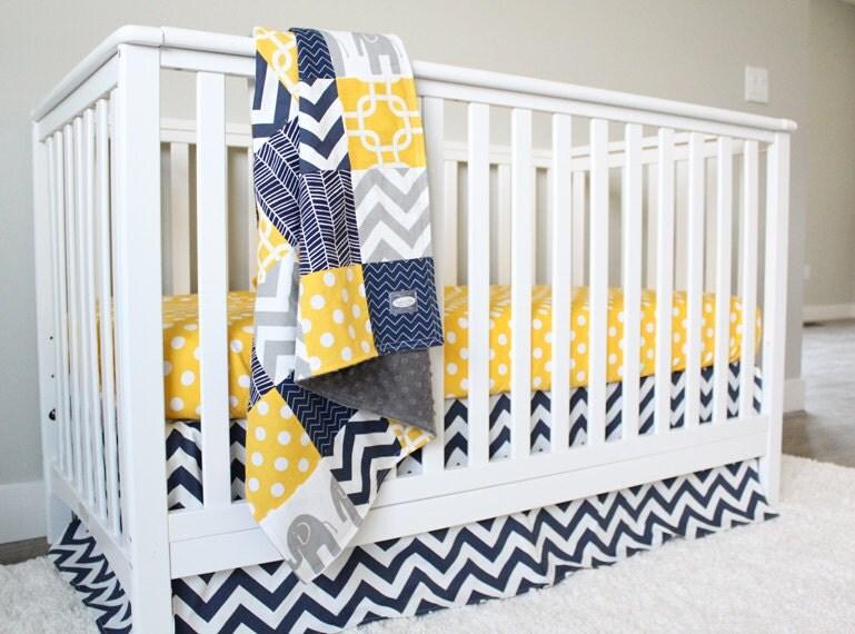 Yellow and navy blue crib bedding grey elephant by - Navy blue and yellow bedding ...