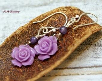 Purple  Flower Amethyst Sterling Silver Wire Wrapped Dangle Earrings