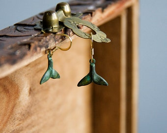 Whale Tail Earrings Patina Fish Tail Dangles Verdigris Tail Charms Ocean Whale Sea Jewelry - E282