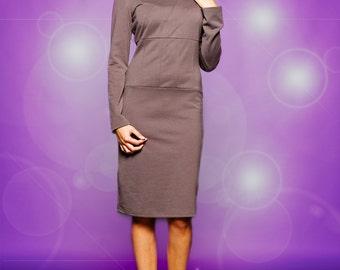 jersey dress, pencil dress, stretch ponte dress, long sleeve dress, midi dress