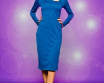 spring dress, pencil dress, jersey dress, long sleeve dress, blue dress, wedding guest dress