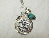 Zodiac Locket Necklace Pisces Turquoise Charms