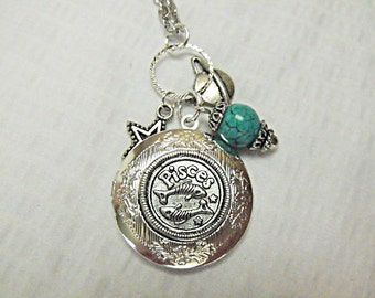 Silver Locket Necklace,    Zodiac Symbol  Pisces With Turquoise Bead And Charms Womens Gift Handmade