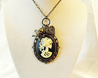 Bronze Cameo Necklace,   Gothic Lolita Cameo Pendant Necklace. Day Of the Dead  With Charms Womens Gift  Handmade