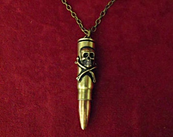 Bullet Necklace,   Death Bullet with Skull and Cross Bones,  Mens Womens Gift Handmade