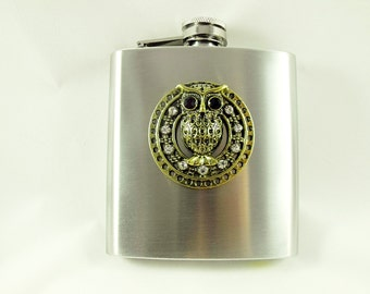 Flask,  Steampunk Bronze  Rhinestoned Owl  Mens Womens Gift Idea Wedding Favors