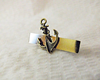 Tie Bar Tie Clip,  Bronze Anchor On  Silver Tie Bar Mens Accessories  Handmade