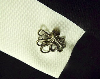 Mens Cufflinks,  Steampunk Nautical Bronze Octopus Cufflinks,  Mens Accessories Wedding Groomsmen